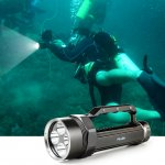 PELLOR Professional 5000 Lumens Portable Diving Flashlight Magnetic Controlled Electrodeless Dimmable Torch 120M Diving Depth