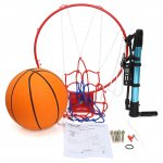 PELLOR Indoor and Outdoor Wall Mounted Solid Basketball Hoop Ring with Rubber Basketball and Pump for Children Kids