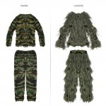 PELLOR Children Kids 3D Broken Filament Camouflage Clothing Ghillie Suit Camouflage Suit for Outdoor Jungle Woodland Hunting Bird Watching CS