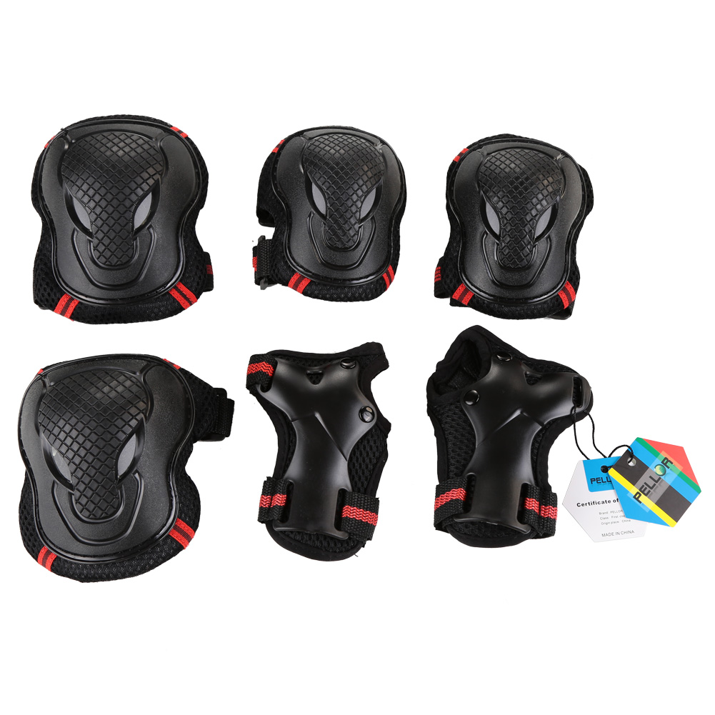 Pellor Outdoor Sports Protective Gear Skating Cycling Sports Gear Set of 6pcs For Children & Adults (Red, S (Tall below 150cm))