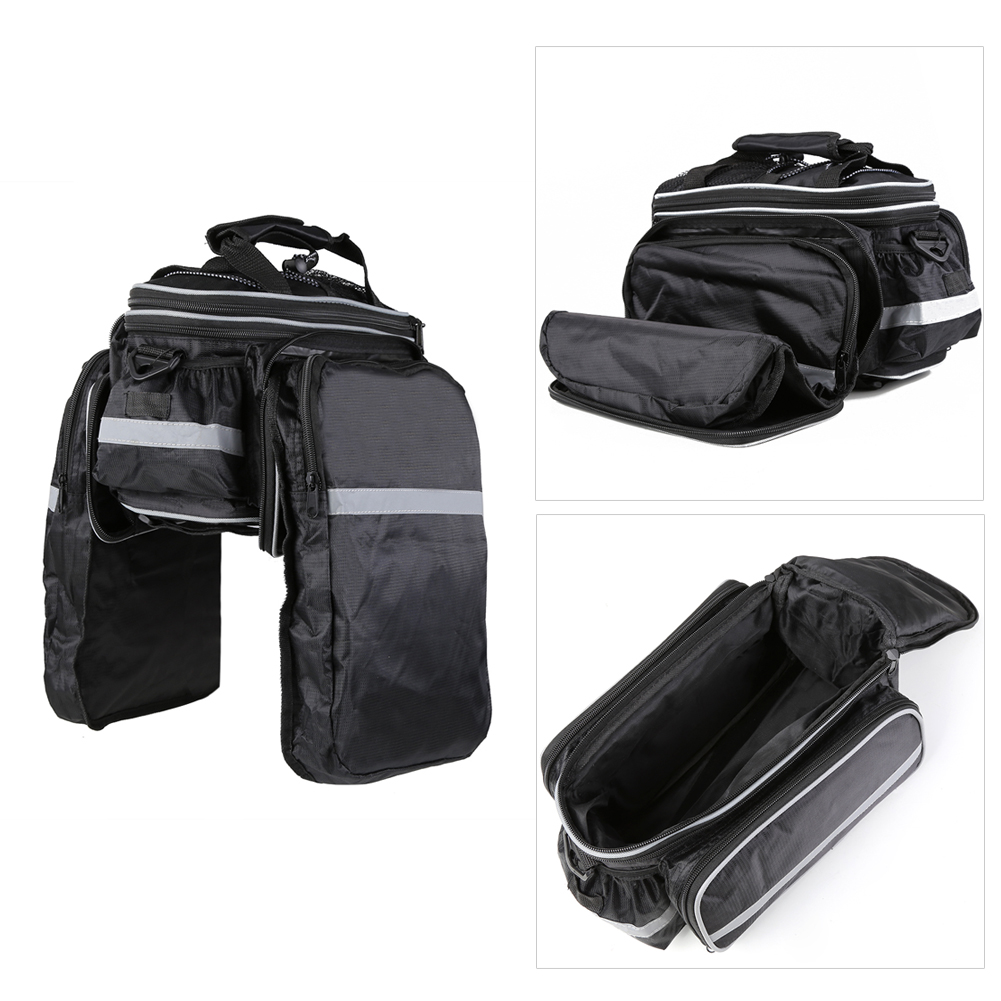 PELLOR 15L Shockproof Portable Single Shoulder Bike Backseat Rack Bag Pannier Bag Package with Rain Cover Reflective Strips