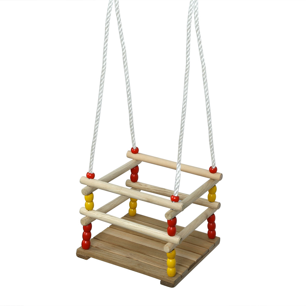 PELLOR Wooden Swing Seat Play Beads Cradle Swing Toy Home ...