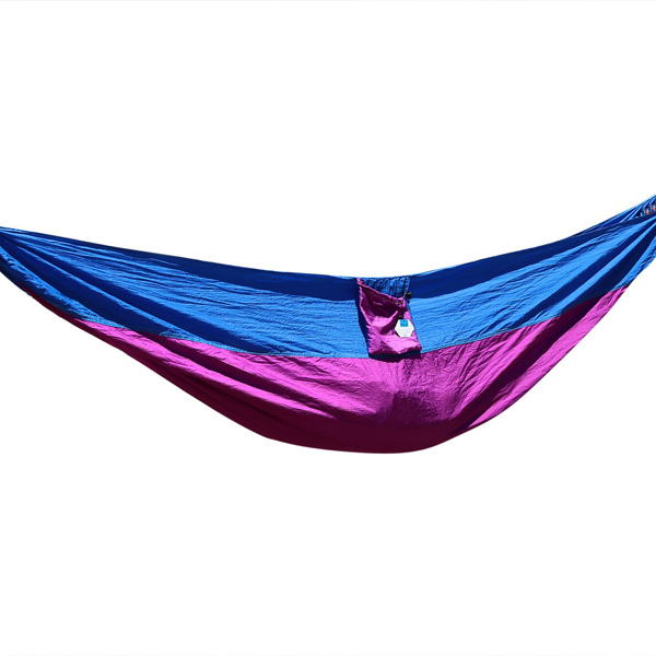 Pellor Double Color Travel Camping Outdoor Parachute Nylon Fabric Two Person Hammock Swing With Free Tree Straps