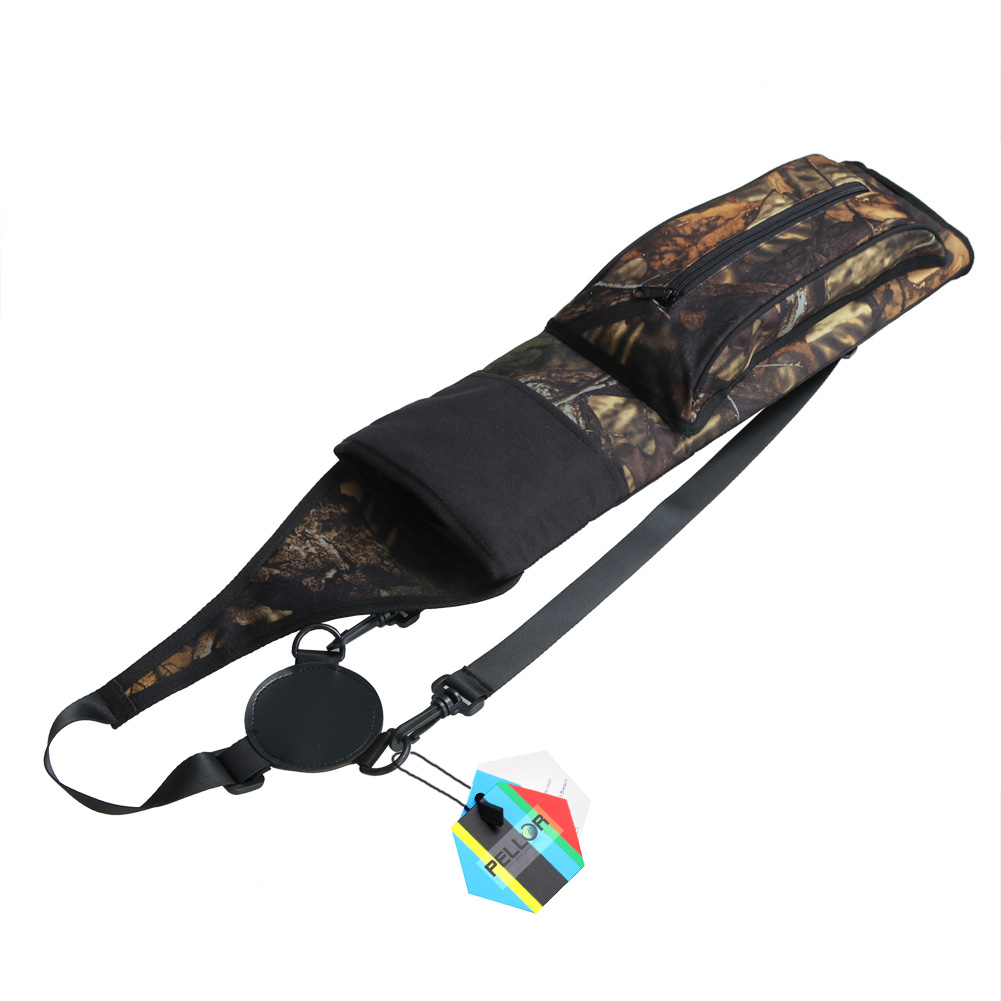PELLOR Outdoor Hunting Archery Arrows Bow Case Adjustable Shoulder Strap Quiver Large Capacity Camouflage Arrow Tube Package Carrier Holder