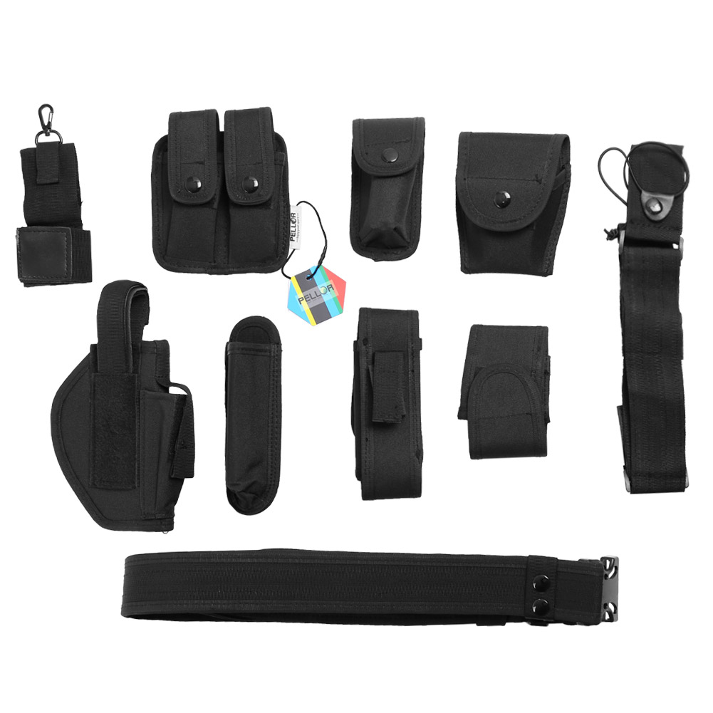 PELLOR Outdoor Multifunction Tactical Belt Security Police Guard Utility Kit Nylon Duty Belt System Black