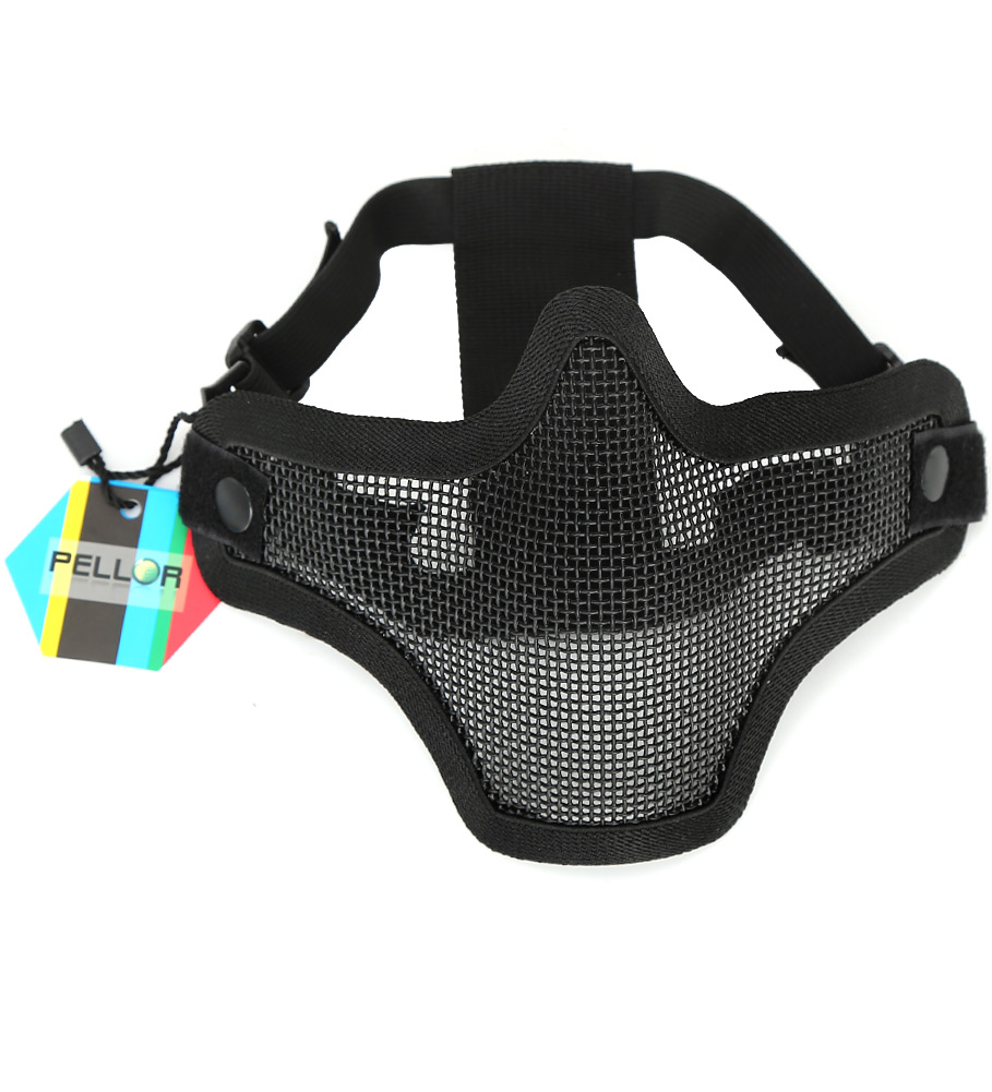 PELLOR Breathable Half Mask Tactical Steel Mesh Mouth Protective Face Saver for Outdoor CS Field Airsoft