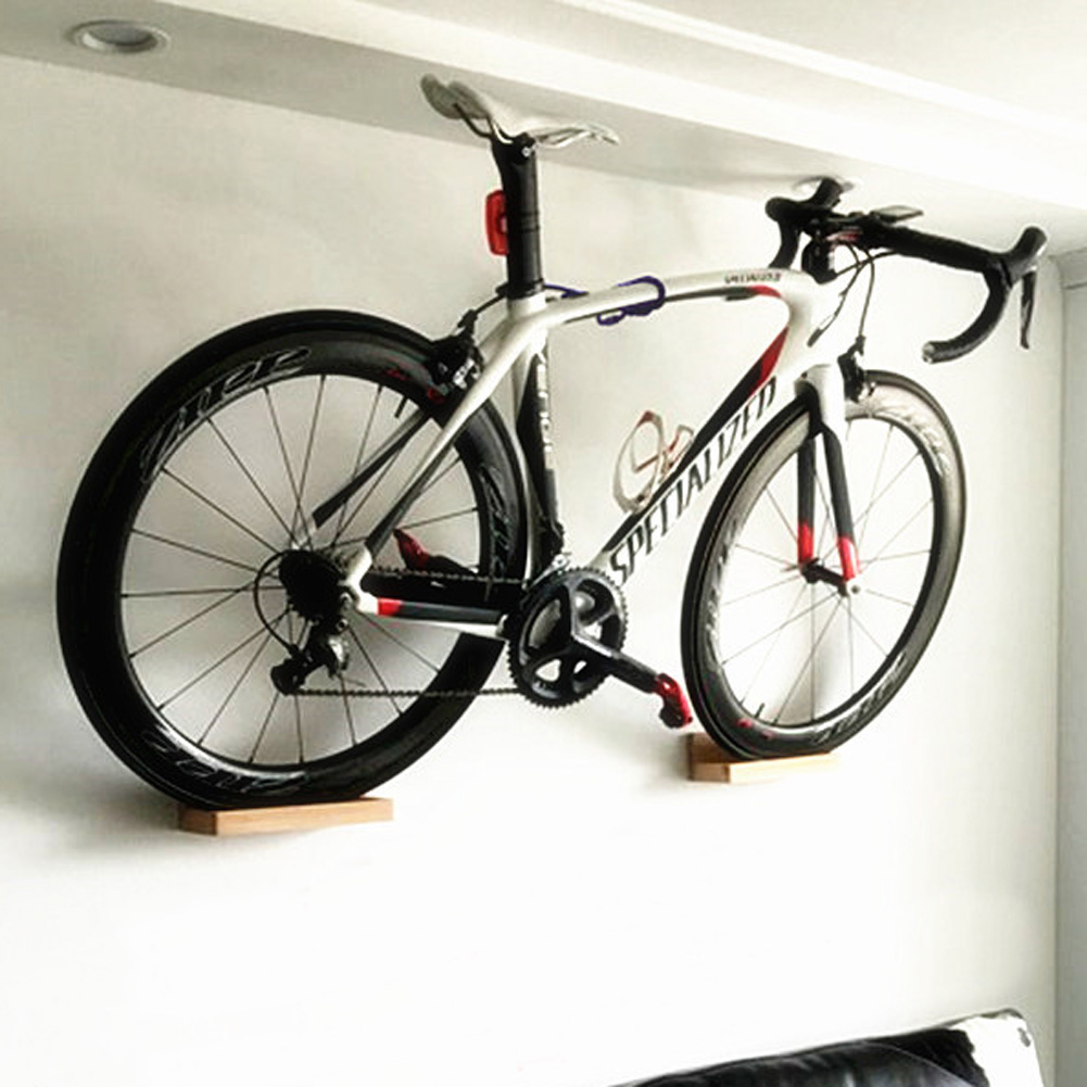 pellor wall mounted bike rack high duty beech wood mtb bicycle show shelf stander. Black Bedroom Furniture Sets. Home Design Ideas